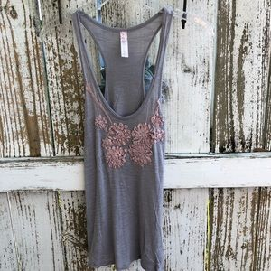 Love Notes Gray Floral Tank With Flowers